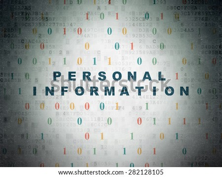 Security concept: Painted blue text Personal Information on Digital Paper background with Binary Code, 3d render - stock photo