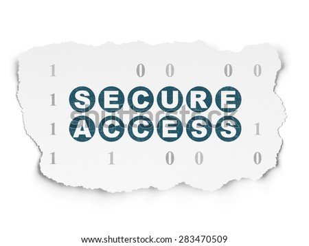 Security concept: Painted blue text Secure Access on Torn Paper background with  Binary Code, 3d render - stock photo