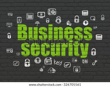 Security concept: Painted green text Business Security on Black Brick wall background with  Hand Drawn Security Icons - stock photo