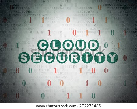 Security concept: Painted green text Cloud Security on Digital Paper background with Binary Code, 3d render - stock photo