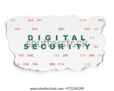 Security concept: Painted green text Digital Security on Torn Paper background with  Hexadecimal Code