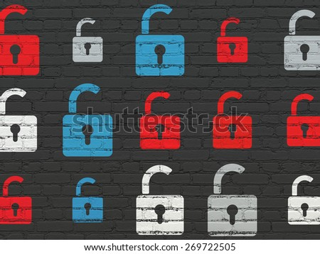 Security concept: Painted multicolor Opened Padlock icons on Black Brick wall background, 3d render - stock photo