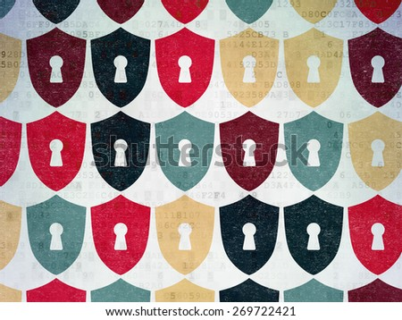 Security concept: Painted multicolor Shield With Keyhole icons on Digital Paper background, 3d render - stock photo