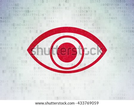 Security concept: Painted red Eye icon on Digital Data Paper background - stock photo