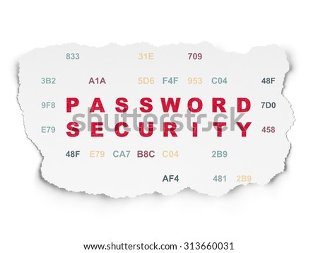 Security concept: Painted red text Password Security on Torn Paper background with  Hexadecimal Code