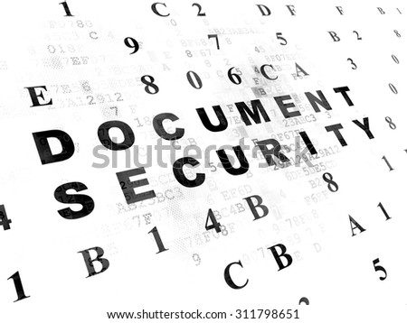 Security concept: Pixelated black text Document Security on Digital wall background with Hexadecimal Code