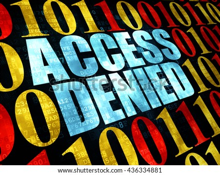Security concept: Pixelated blue text Access Denied on Digital wall background with Binary Code - stock photo