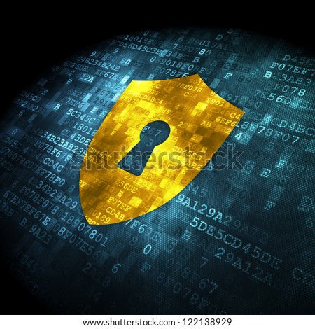 Security concept: pixelated shield with keyhole icon on digital background, 3d render - stock photo