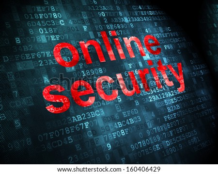 Security concept: pixelated words Online Security on digital background, 3d render