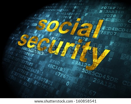 Security concept: pixelated words Social Security on digital background, 3d render - stock photo