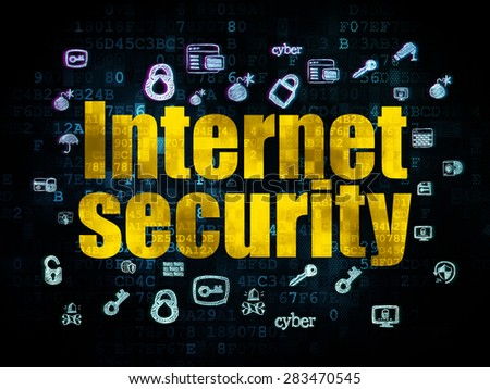 Security concept: Pixelated yellow text Internet Security on Digital background with  Hand Drawn Security Icons, 3d render - stock photo