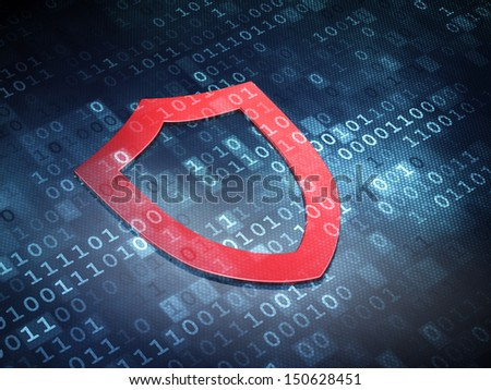 Security concept: Red Contoured Shield on digital background, 3d render - stock photo