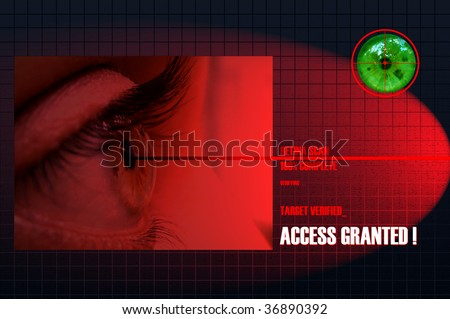 Security Concept: Retina Scan for security and authenticated entry - stock photo