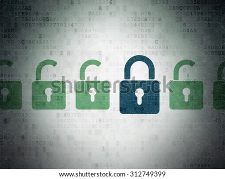 Security concept: row of Painted green opened padlock icons around blue closed padlock icon on Digital Paper background - stock photo