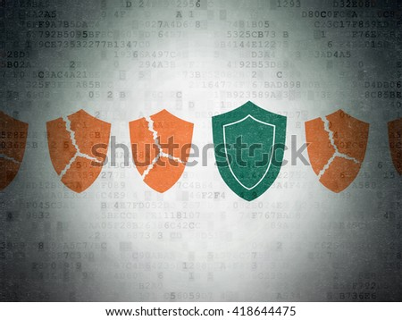 Security concept: row of Painted orange broken shield icons around green shield icon on Digital Data Paper background - stock photo