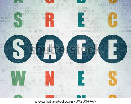 Security concept: Safe in Crossword Puzzle