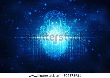 Security concept: Shield With Keyhole on digital background - stock photo