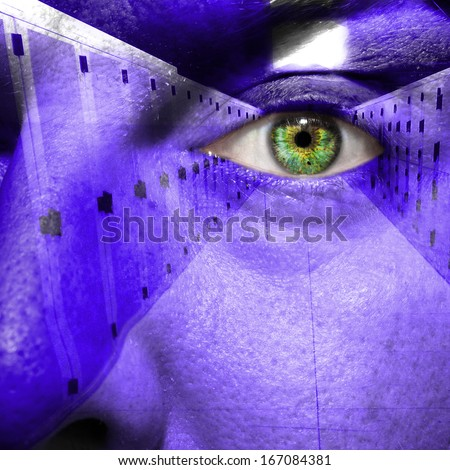 Security concept showing data center on a man's face - stock photo