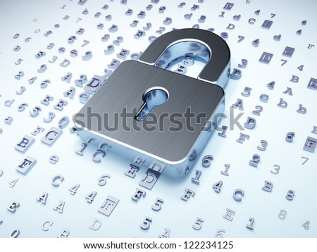 Security concept: silver closed padlock on digital background, 3d render - stock photo