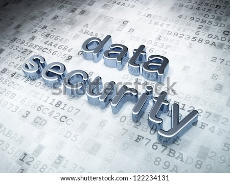 Security concept: silver data security on digital background, 3d render - stock photo