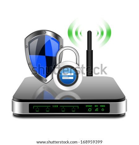 Security concept with padlock username password on wireless Router with the antenna illustration - stock photo