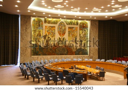 Security Council chamberUnited Nations Headquarters,New York City - stock photo