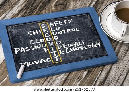 security crossword concept handwritten on blackboard - stock photo