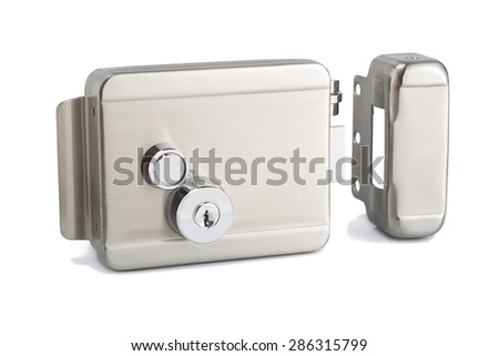 Security door lock in polished aluminum finishing for protection public and private placements - stock photo