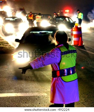 Security/ drunk driving checkpoint by police. Vertical orientation. Editorial only. - stock photo
