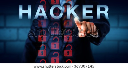 security expert touching hacker onscreen broken virtual lock icons in a hexagon matrix are lighting black hat unique lighting