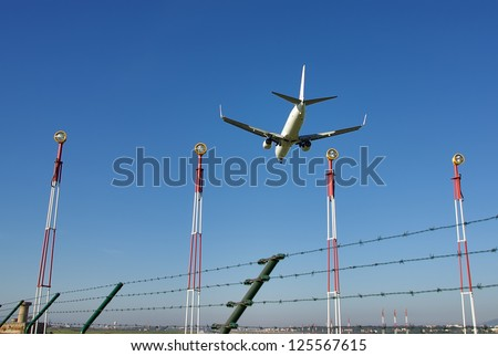 Security fence in an european airport - stock photo