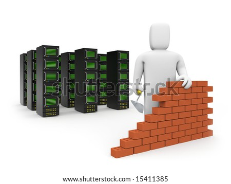 Security firewall building. - stock photo