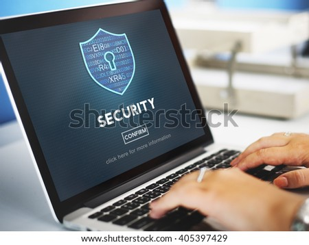Security Firewall Privacy Protection Homepage Concept - stock photo
