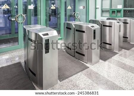 Security gateway and electronic card reader - stock photo