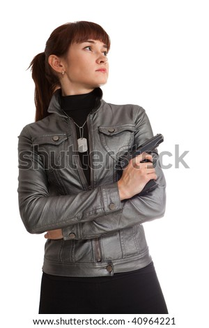 Security girl in leather jacket with the Makarov gun. Isolated on white.