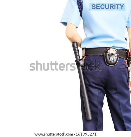 Security guard on white background with clipping path - stock photo