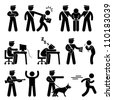 Security Guard Police Officer Thief Icon Symbol Sign Pictogram - stock photo