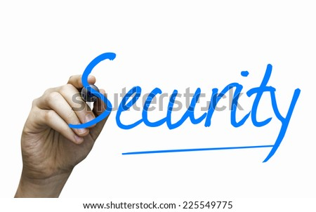 Security hand writing with a blue mark on a transparent board - stock photo