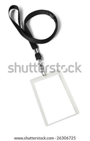Security ID pass on a black lanyard.  Isolated on white, ready for your text. - stock photo