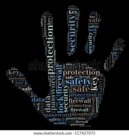 Security info-text graphics and arrangement concept on black background (word cloud) - stock photo