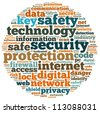 security info-text graphics and arrangement concept on white background (word cloud) - stock