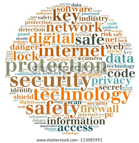 security info-text graphics and arrangement concept on white background (word cloud - stock photo