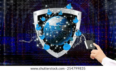 Security Internet technologies concept of global business or social network connection - stock photo