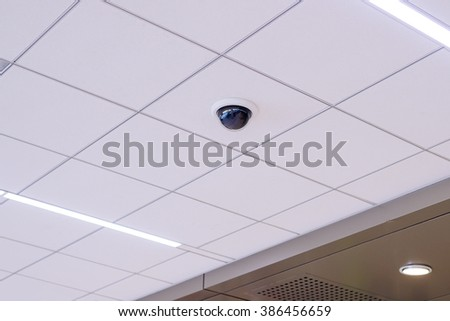 Security IR camera for monitor events in building. - stock photo