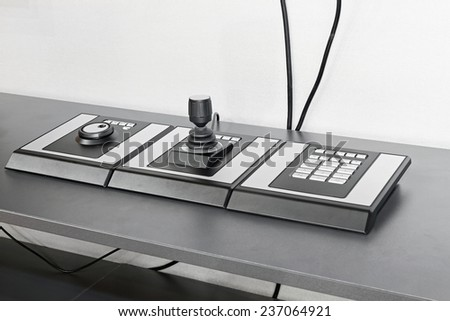 Security joystick and keypad for video surveillance system - stock photo