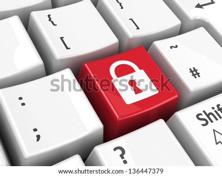 Security key on the computer keyboard, three-dimensional rendering - stock photo