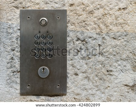 Security keypad,code lock keypad numbers,security system armed - stock photo