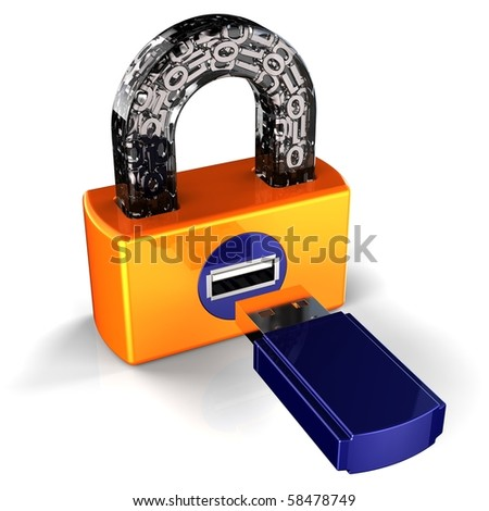 Security lock computer data digital flash usb card padlock secret password encryption. Binary information privacy protect hacker shield safety concept. 3d render isolated on white background - stock photo