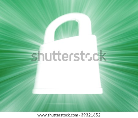 Security lock concept illustration glowing energy style
