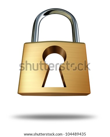 Security lock with keyhole as a safety symbol and privacy icon showing the concept of protection from hackers and computer viruses in the internet age of social networking technology on white. - stock photo